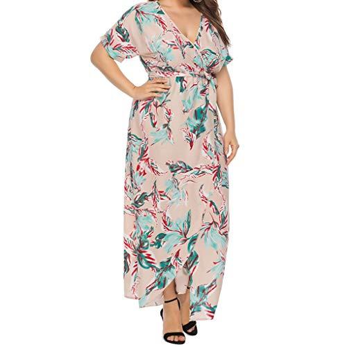 Clacce Sommerkleider Damen Kurzarm V-Ausschnitt Strand Kleider Frauen Sexy Plus Size Sommer Taille Floral unregelmäßigen Print Kleid Abendkleid Knielang