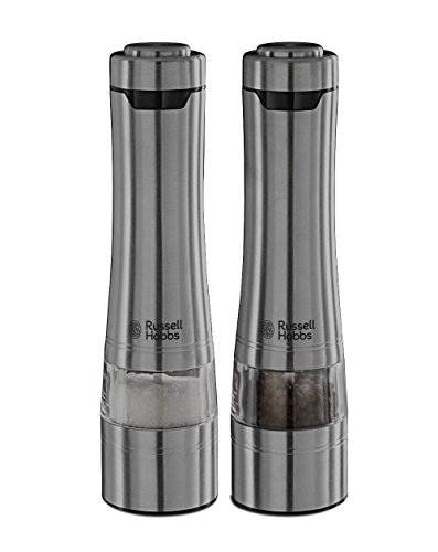 Russell Hobbs Classics - Molinillos de Pimienta y Sal Electricos Sistema Molido Cerámico, Acero Inoxidable...