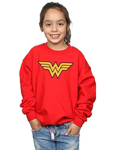 Absolute Cult DC Comics Mädchen Wonder Woman Logo Sweatshirt Rot 5-6 Years Dc-jersey Sweatshirt