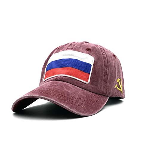 XibeiTrade Baseballmütze mit russischer Flagge, Bestickt, Polo-Stil, Militär, Armee, Gewaschene Baumwolle - Rot - Medium (Armee Patch Russische)