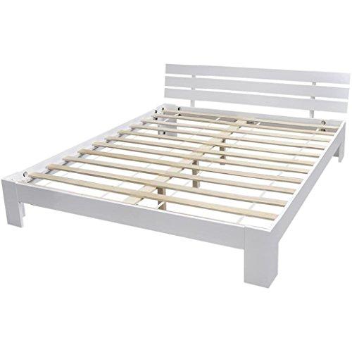 Vidaxl letto matrimoniale camera da letto bianco in legno di pino 200 x 160 cm