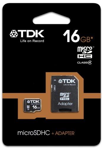 TDK Carte mémoire Micro SDHC Classe 4 avec adaptateur 16 Go