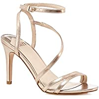 0419f68abe4 Faith Womens Rose Gold  Delly  High Stiletto Heel Ankle Strap Sandals