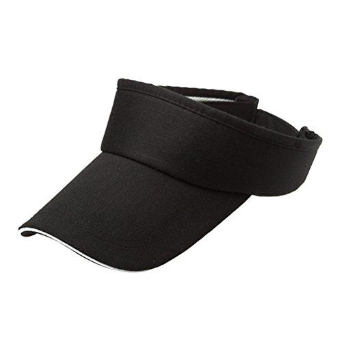 Tennis Hat (VORCOOL Unisex Einstellbare Sonne Sport Visier Cap Golf Cap Tennis Visier Hut UV Schutz für Radfahren Angeln Laufen Jogging (Schwarz))