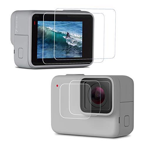 Rhodesy Protecteur d'écran GoPro HERO7 Silver/White, Verre Trempé Film de Protection d'écran+Verre Trempé Film de Protection d'objectif, Accessoires pour GoPro HERO7 Paquet de 2