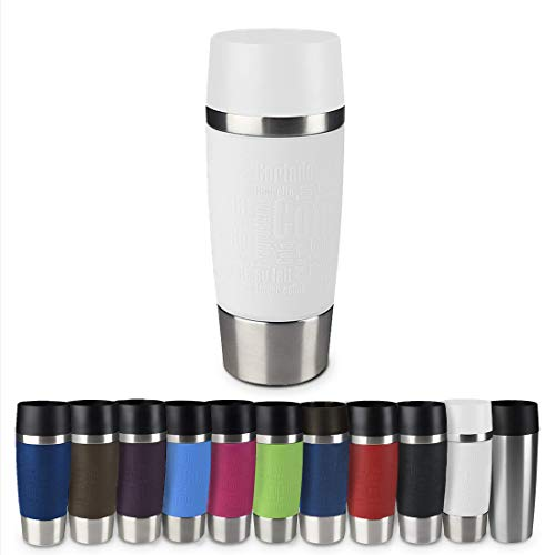 Emsa 515108 Travel Mug Standard-Design, Thermobecher, 1er pack (1 x 360 ml), weiß -