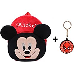 ToyJoy Mickey mouse school bag with free key chain for kids 35cm /girls/boys/children plush soft bag backpack cartoon bag gift for kids