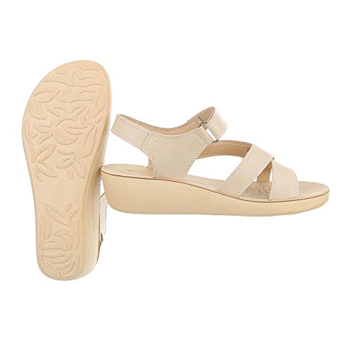 Ital-Design Chaussures Femme Sandales Plat Sandales a Laniere Beige