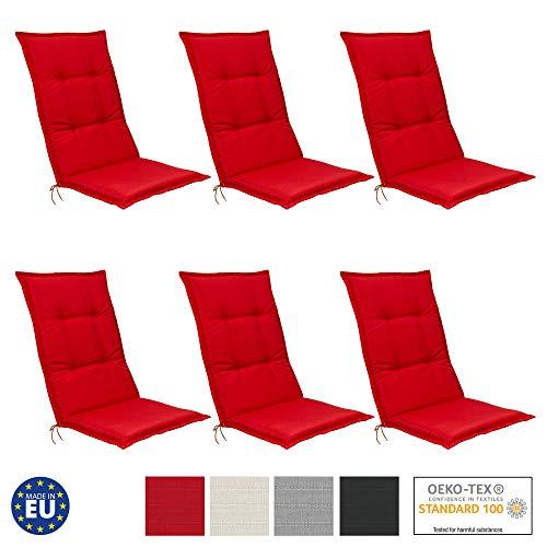 Beautissu 6er Set Hochlehner Auflagen Set Base HL 120x50x6cm Sitzkissen Rückenkissen Stuhlkissen...