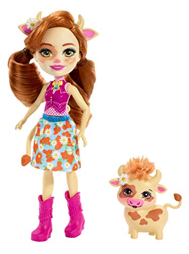 Enchantimals FXM77 Cailey Cow Doll (6 Inch), and Curdle Animal Friend Figure, Multicolour