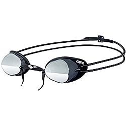Arena - Gafas de natación Swedix Mirror, color humo-plata-negro