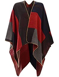 THE AMBER ORCHID WOMENS LADIES CHECKED KNITTED WINTER TARTAN CAPE STYLISHED PONCHO