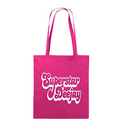 Comedy Bags - Superstar Deejay - Jutebeutel - lange Henkel - 38x42cm - Farbe: Schwarz / Pink Pink / Weiss