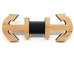 BOBIJOO Jewelry - Ancla de Madera bambú Pajarita Barco Marina Cuero Hecho a Mano del patrón