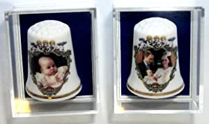 Royal Baby HRH Prince George Of Cambridge China Thimble Set of 2