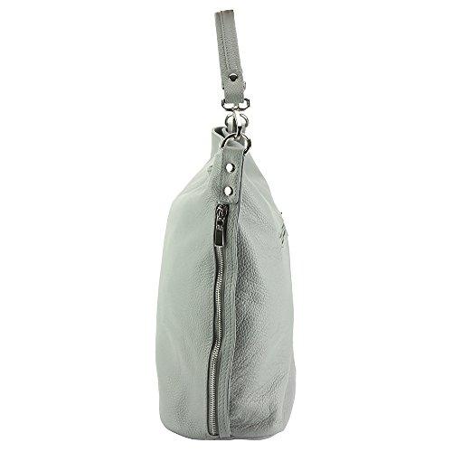 Hobo Bag Donata In Pelle Di Vitello-9116 Grigio