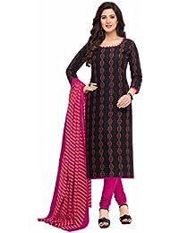 Miraan Women's Cotton Dress Material (Band1607_Black_Free Size)