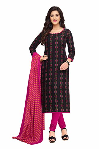 Miraan Women's Dress Material (BAND1607_Black_Free Size)