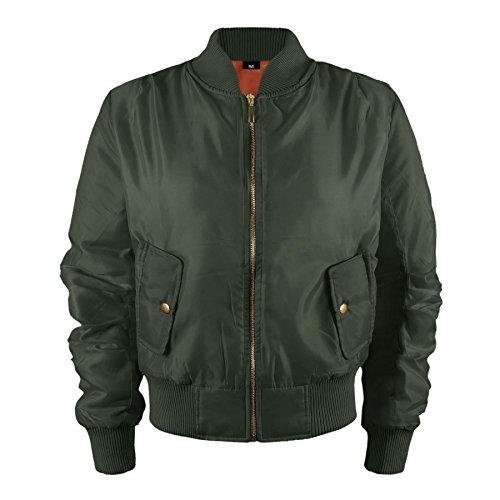 Kinder Mädchen Jungen Kinder Bomber MA1 Stil Jacke Piloten Biker Taschen Mantel Jahre – Khaki, 92-98 - 2
