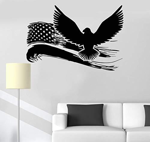 Tiukiu American Eagle US Flag Wandaufkleber aus Vinyl, modernes Deko, 81 cm breit (Flag Dream American)
