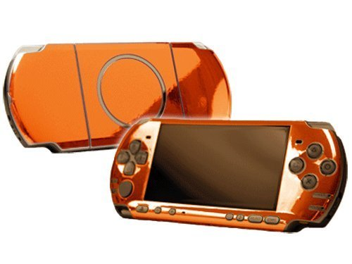 Sony PlayStation Portable 3000 (PSP-3000) Skin - NEW - ORANGE CHROME MIRROR system skins faceplate decal mod by System Skins (Psp Chrome)