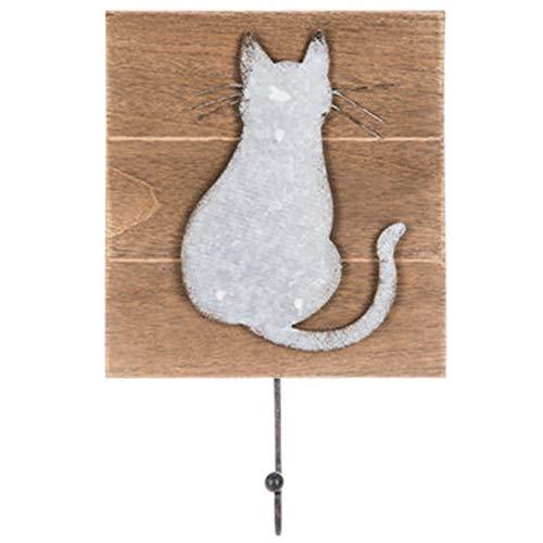 Mission Gallery Wandhaken, Motiv Katze, verzinktes Metall und Holz, 20,3 x 16,5 cm - Motiv Bad Hardware