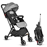 Besrey Stroller Lightweight Pushchair Compact Buggy Foldable Suitable for Airplane - Grey