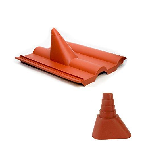 PremiumX Dachabdeckung Dachziegel Dachpfanne Frankfurt rot + universale Gummimanschette Dichtungsmanschette rot