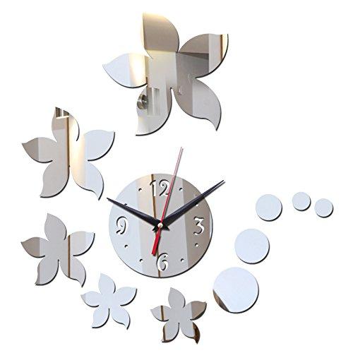 Syalex (TM) Top Fashion Miroir acrylique murale Horloge Stickers Design moderne Autocollant DIY Horloge Décoration de la Maison Salon