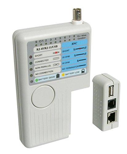 Goobay 68857 Netzwerk Kabeltester zur Prüfung von CAT 5/6 ISDN und USB Kabeln und Verbindungen