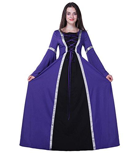 Honeystore Damen's Kostüm Halloween Fasching Karneval Hexe Vampir Lady Mittelalter Zauberin Violett XL