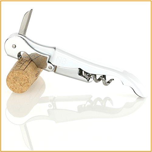 Naruba Premium Korkenzieher – Kellnermesser – Sommeliermesser - mit Doppelhebel, Flaschenöffner und Kapselschneider (Weiss)