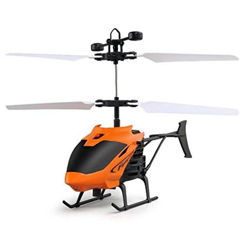 J - negozio aereo, flying mini rc induzione ad infrarossi elicottero aereo lampeggiante giocattoli per bambini, elicottero ad induzione + telecomando (arancione)