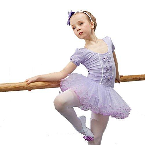 Byjia Kinder Ballett Tanz Mädchen Kleid Kinder Prinzessin Gymnastik Praxis Match Kleidung Leistung Kostüme Tulle Chiffon Party Bühne Studenten Gruppe Team Purple 100Cm