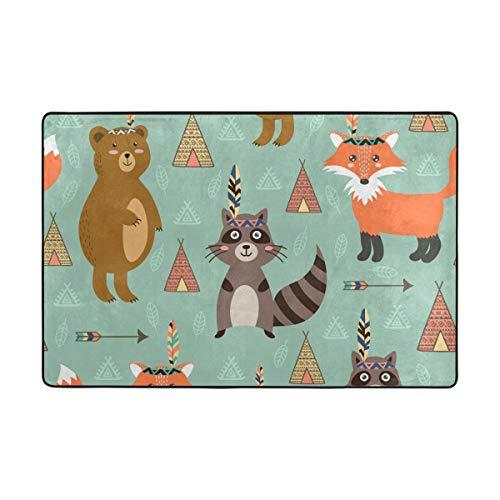 FANTAZIO Teppiche Tiere Bär Fuchs und Waschbär gerader Teppichgreifer für Ecken und Kanten, ideal für Küche/Badezimmer, Polyester, 1, 36 x 24 inch -