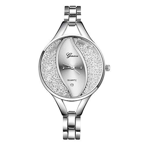 b932cb2d3101 Mujer Relojes de Pulsera Reloj de Pulsera Redondo de Acero Inoxidable con  Banda de Cuarzo analógico para Mujer Relojes Diseño único y Elegante  Honestyi