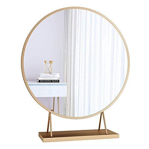 BJYX Espejo de Mesa Redondo Espejo para Sala de Estar, Dormitorio Espejo de Maquillaje, con Base, Dorado...