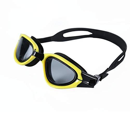 Schwimmbrille, Schwimmbrille mit Antibeschlag und UV Schutz, Schutzbrille Männer und Frauen transparente HD-Anti-Fog-Racing-Schutzbrille für Erwachsene, gelb