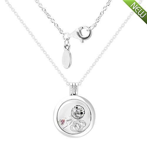 �ische Mode authentischen 925 Sterling Silber Medium schwimmende Locket Silber Halskette mit Liebe, Herz & Stern Halskette Schmuck (Love Star Heart) ()