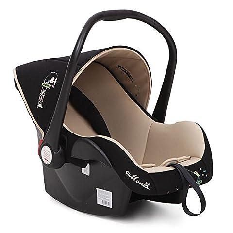 Kindersitz Babytravel Gruppe 0+ (0 - 13 kg) mit Sonnendach und Fußschutz (Beige)