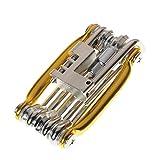 LEvifun Fahrrad Reparatur Kit, 11 in 1 Fahrrad Werkzeugsätze Fahrrad Multi Reparatur Kit Verhexen Gesprochen Schlüssel Schraubendreher (Golden)