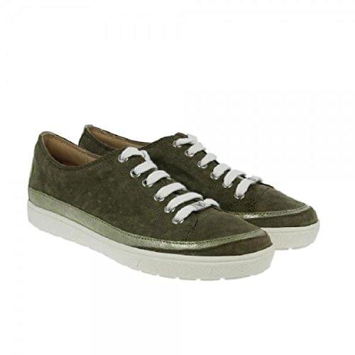 Caprice Lace-up Iridescent Low Top Womens Trainers Khaki – 5 UK