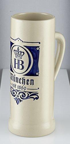 """Bierkrug   Steinkrug \""""Saga 1589\"""" 0,5 l mit den Originalen HB Logo , München Schriftzug und Gründungsjahr in Blau mit Eleganten Traditionellen München Design"""