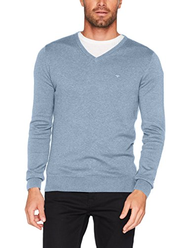 TOM TAILOR Herren Sweatshirt Basic v-Neck Sweater, Blau (Clouds Heaven Blue Melange 6497), XXX-Large