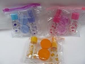 5 pezzi da viaggio per bagagli, in plastica, Pompa spray bottiglia, set da 2, colore: panna, Spatola &-Vasi in borsa di Fat-catz-copy-catz