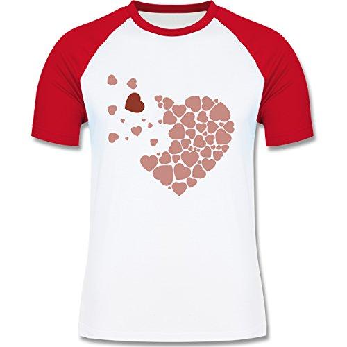 Romantisch - Herz Herzchen - zweifarbiges Baseballshirt für Männer Weiß/Rot