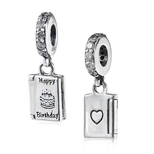 Happy Mother 's Day Charm 925Sterling Silber Love Charm Buch Charm Herz Charm Jahrestag Charm für Pandora Charme Armband Birthday (Happy Birthday Charme Pandora)