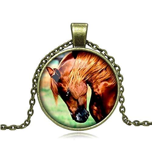 GYXYZB Pferd Bild Zeit edelstein Legierung Glas Halskette Langen anhänger