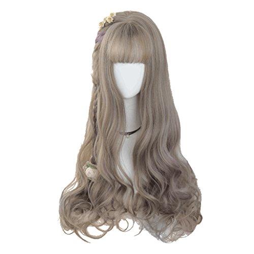 Chang Xiang Ya Shop Mode Douce Moelleux Naturel Longue Perruque Pleine Perruque Femmes Gris Perruque Longue Perruque