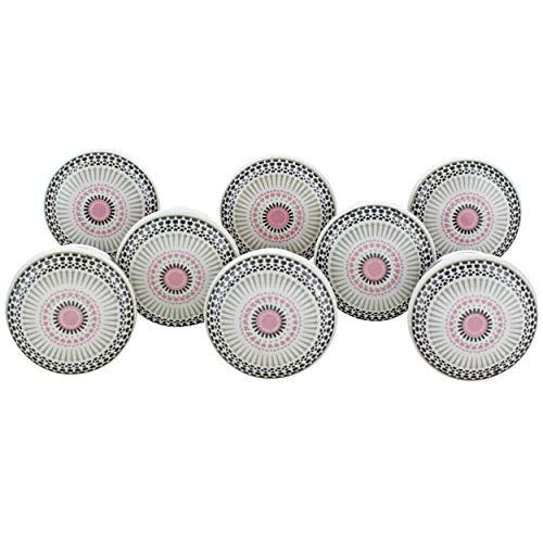 G Decor Boutons de porte en céramique énergie positive, Céramique, rose, 40 mm